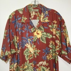 Tommy Bahama Shirt Mens Floral Hawaiian Red Silk